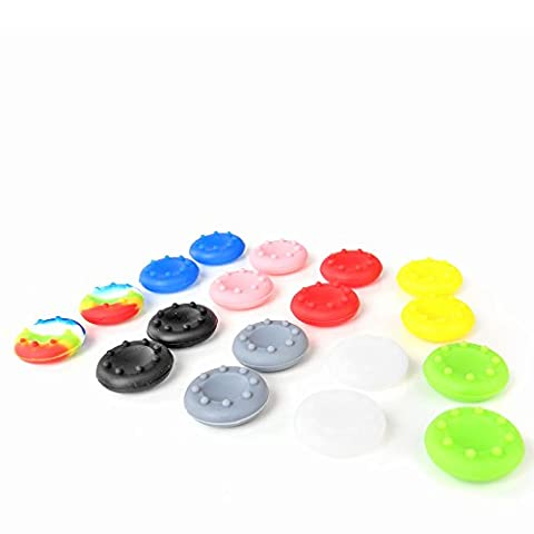 TNP 9 Pairs Thumbstick Joystick Rubber Grip Cap Cover Case Gampad Thumb stick Replacement Parts for Sony Playstation 4 PS4 PS2 PS3 XBOX 360 / One Wii U Controller 9 Colors [Playstation (Ps4 Extender Thumb Sticks)