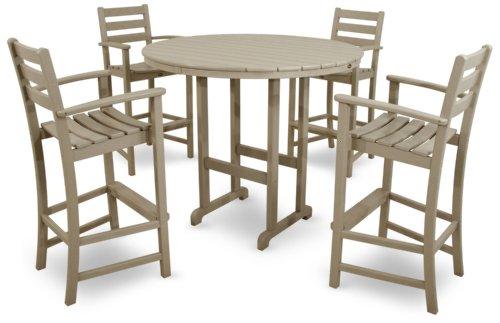 Trex Outdoor Furniture TXS119-1-SC Monterey Bay 5-Piece Bar Set, Sand Castle - Monterey Sand