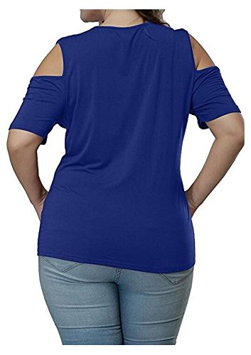 Durcoo Chemises Femmes De Taille Plus Large Tops Dentelle Épaule Blouse Manches Courtes Tees 2193blue
