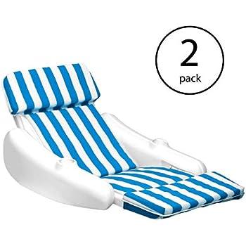 Swimline Blue White Sunchaser Padded Floating Luxury Pool Lounge Chair