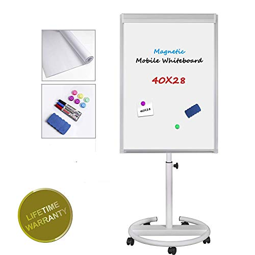 Magnet Chart Dry Erase - Magnetic Mobile Whiteboard - 40x28 inch Mobile Dry Erase Board Height Adjustable Rolling Round Stand Mobile Whiteboard w/Flipchart Pad, Magnets,Markers & Eraser