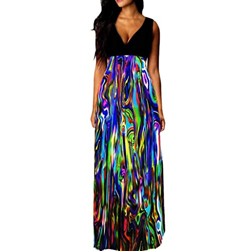 - Goddessvan 2019 Women's Sleeveless V-Neck Boho Floral Vest Flowy Party Maxi Dress Sundress Blue