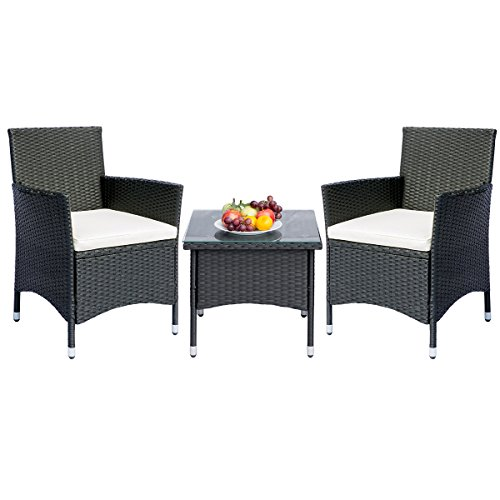 Romatlink Outdoor Furniture 3 Piece Patio Bistro Set 2 Chairs with Glass Top Table All-Weather W ...