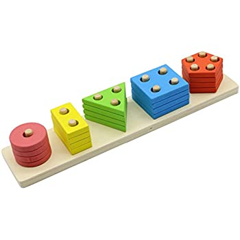 MoTrent Wooden Educational Preschool Shape Color Recognition Geometric Sorting Board Blocks Stack and Sort Chunky Puzzle Toys for Kids Children Toddler Boy Girl
