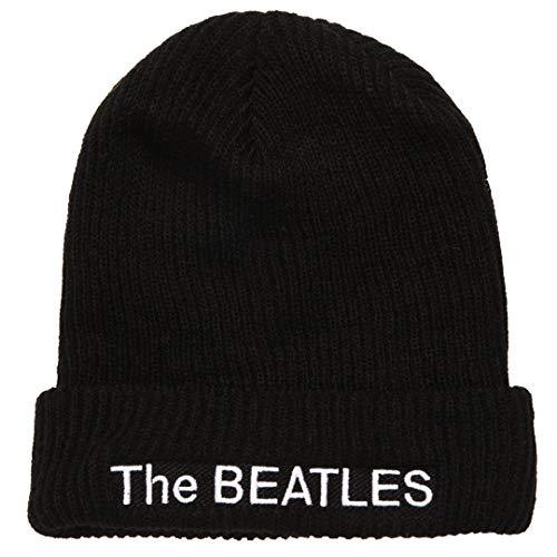 - The Beatles White Album Logo Knit Beanie - Black