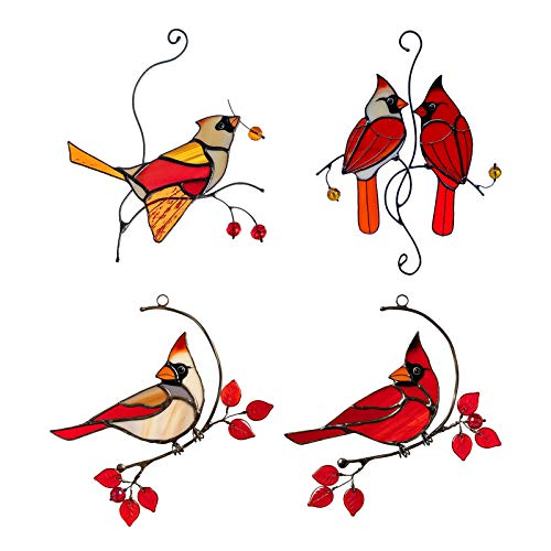 Ymibull Multicolor Birds on a Wire High Stained Glass Sun Catcher Window Panel, Window Hangings Personality Bird Material Pendant for Home Window Hanging Ornament Decoration Bird Series Ornaments (M)