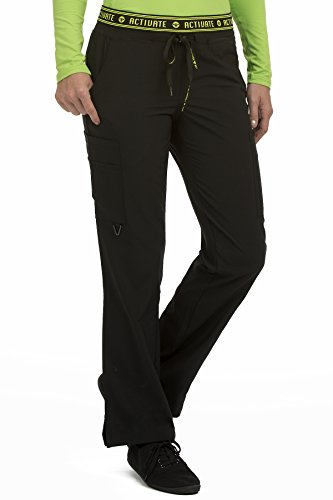 Med Couture Activate Scrub Pants Women, Flow Yoga 2 Cargo Pocket Pant, Black, Small