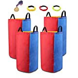 Potato Sack Race Bags 25'' x 30'' Colorful Reusable Jump Bags Outdoor Games Birthday Family Party for Kids & Adults (Pack of 4)