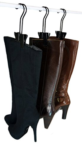 The Boot Hanger - Shoe Storage Space Saver (set of 3); Boot Hanger, Boot Holder, Boot Clips (Black)
