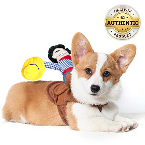 Delifur Dog Costumes Pet Costume Pet Suit Cowboy Rider Style (Small)]()