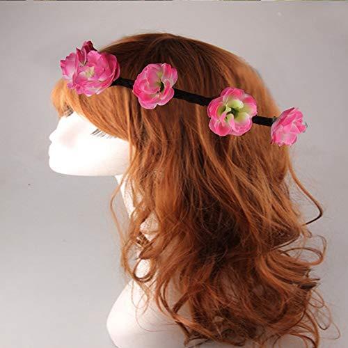 LooBooShop 1pcs Woman Flower Headband Flower Crown Wedding Party Bridesmaid Hair Accessories Flower Garland Wreath Summer Style