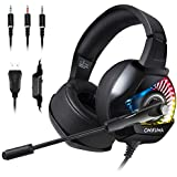 Stereo Gaming Headset- Over-Ear 3.5mm Headphones Compatible with Nintendo Switch/ PS4/ Xbox One/PC with Noise Cancelling Mic/LED Lights/Volume Control/Surround Sound