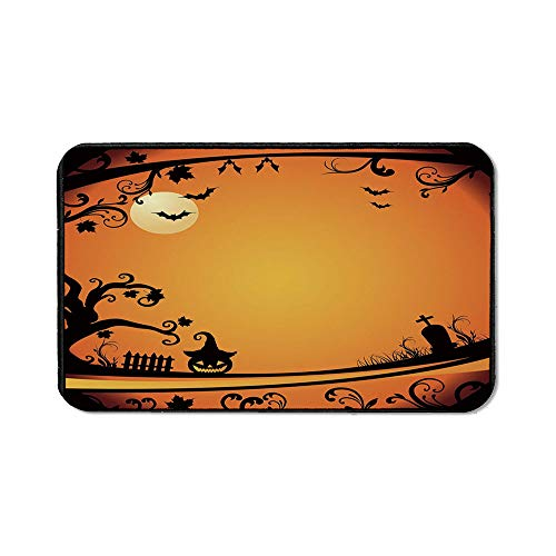 Vintage Halloween Natural Rubber Pad,Halloween Themed Image Eerie Atmosphere Gravestone Evil Pumpkin Moon Decorative for Office &Hone Computers,15.75''Wx23.62''Lx0.12''H ()