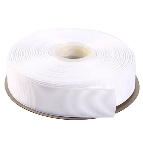 DUOQU 7/8 inch Wide Grosgrain Ribbon 25 Yards Roll Multiple Colors White