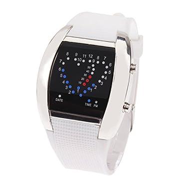 Xiaochou@sl - Reloj Digital LED Multifuncional con luz Azul y roja LED/Reloj con Fecha, Tanto Hombres como Mujeres Moda (Color : Blanco): Amazon.es: ...