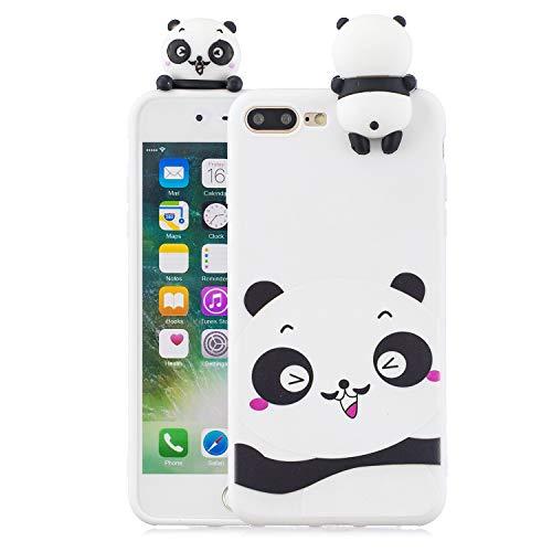 Phone 7 Plus Case,DAMONDY 3D Cute Cartoon Animals Pattern Design Soft Silicone Gel Slim Rubber Thin Protective Cover Phone Case for iPhone 7 Plus/iPhone 8 Plus-Shy Panda ()