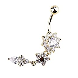 US OFTENBUY LIMITED 1Pc Bell Ring Crystal Flower Dangle Navel Fashion Special Amazing Bright Shining Golden