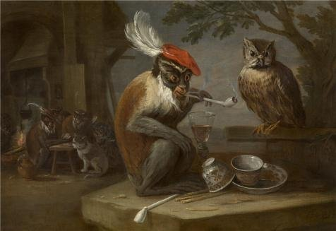 'David Teniers II - Monkey Trick,17th Century' Oil Painting, 10x15 Inch / 25x37 Cm ,printed On Perfect Effect Canvas ,this Imitations Art DecorativeCanvas Prints Is Perfectly Suitalbe For Gym Decoration (Hippie Sticks Tricks)