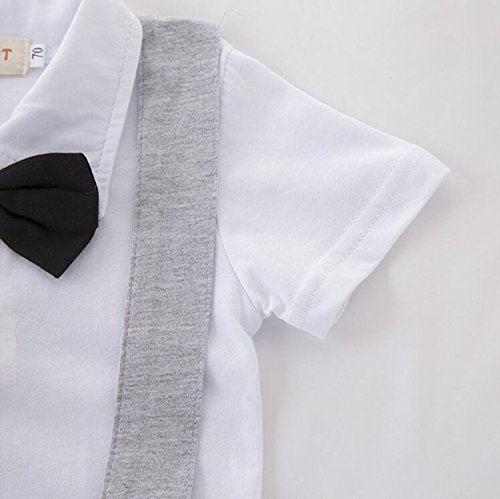 Infant Boys Shorts Sleeve Bow Neck Gentleman Formal Straps Romper Jumpsuit