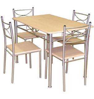 PanaCasa - Juego de mesa de comedor de madera maciza con 2 sillas de ...