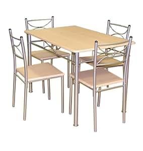 Diseño de comedor Celine Compact/mesa de cocina para camping y juego de 4 sillas de madera cromado