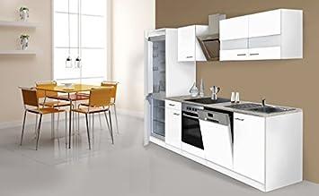 respekta Küche Küchenzeile Küchenblock 280cm weiß weiß Kühlkombi ...