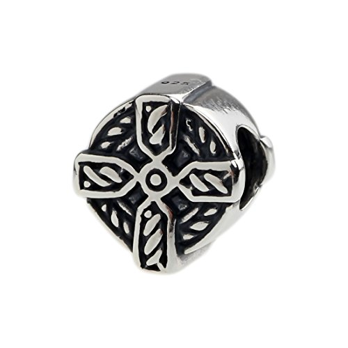 .925 Solid Sterling Silver Celtic Braid Cross Bead/Charm for Pandora, Chamilia, Biagi Bracelets ()