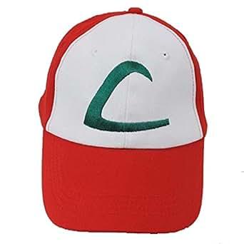 Pokemon Ash Ketchum Baseball Snapback Cap Trainer Hat for Adult Embroidered, Adjustable, Red