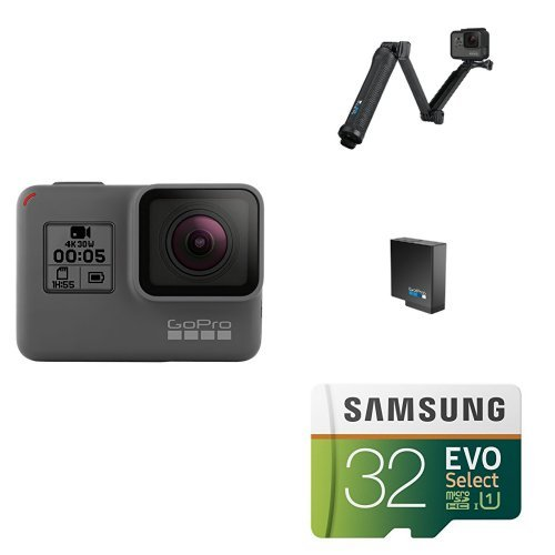 : GoPro HERO5 Black w/ 3-Way Grip, Battery and Memory Card