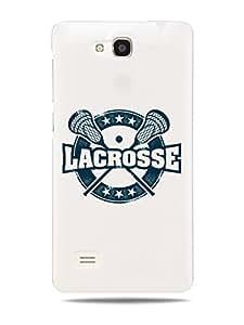 "GRÜV Premium Case - "" Vintage Lacrosse Stamp Sport Art"" Design - Best Quality Designer Print on White Hard Cover - for Huawei Ascend G615"