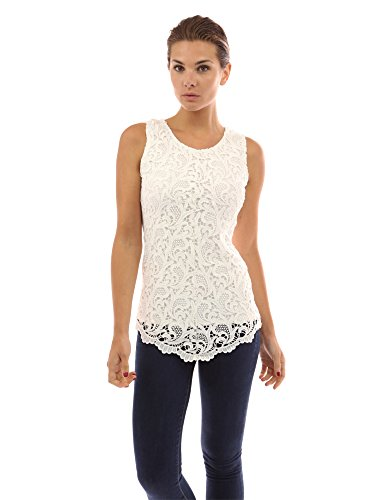 - PattyBoutik Women's Lace Front Overlay Lined Tank Top (Off-White M)