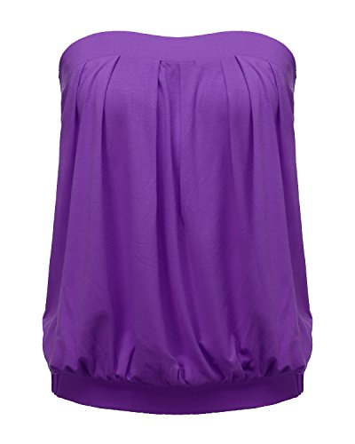 ZANZEA Women's Tube Tops Tie Dye/Solid Strapless Shirt Sleeveless Pleated Blouse Purple US 14
