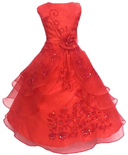 Big Girls Embroidered Beaded Flower Girl Birthday Party Dress with Petticoat Red (Petticoat Dress Red)