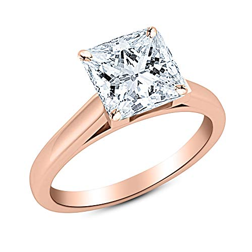 0.81 Ct Princess Cut Cathedral Solitaire Diamond Engagement Ring 14K Rose Gold (E Color SI2 Clarity)