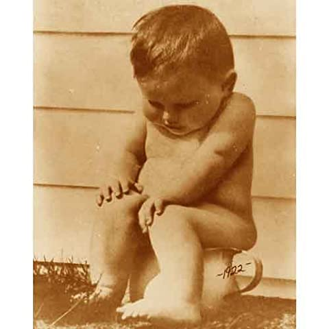 Quality digital print of a vintage photograph - Potty Boy Sepia Tone 11x14 inches - Luster Finish - Sepia Photo Print