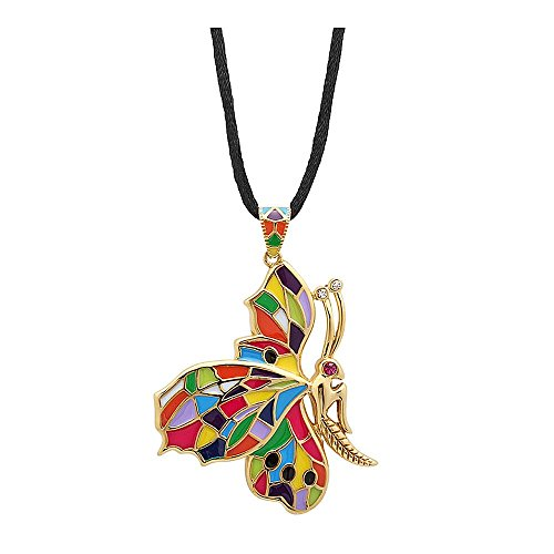 - Gem Stone King 2.5 Inch Stainless Steel Butterfly Pendant Multi Enamel Without Chain