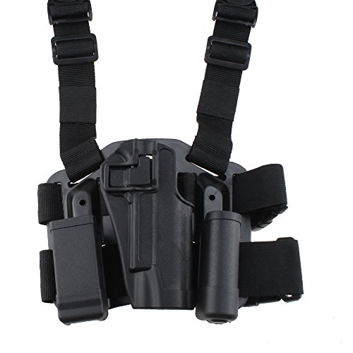 AGPtek Military Special Forces Quick Release Tactical Right Hand Paddle + Leg Belt Hard Drop Leg Holster for Colt 1911 (Black)