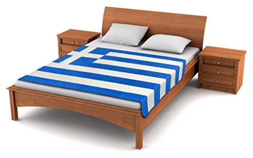 Fuzzy FlagsTM Greece Flag Fleece Blanket - 80-inches x 50-inches - Oversized Greek Flag Travel Throw Cover