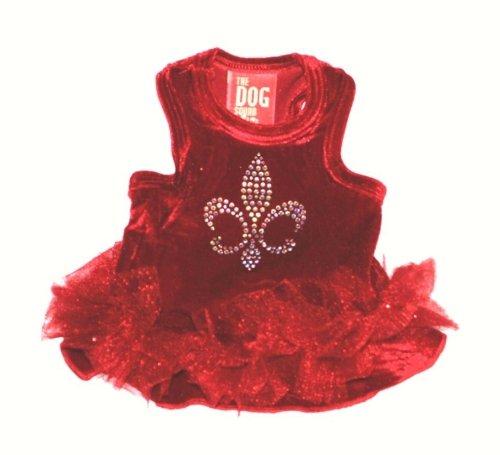 The Dog Squad Velvet Fleur De Lis Tutu Pet Dress, Medium, Red