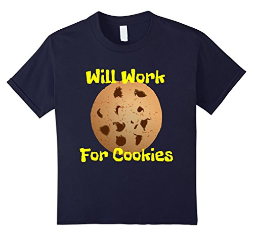 Kids Will Work For Cookies Funny Junk Food Snack Shirt 8 Navy