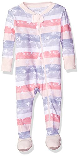 Burt's Bees Baby Baby Organic Zip Front Sleeper, Lily Stars and Stripes, 3-6 Months