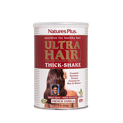 Natures Plus Ultra Hair Thick Shake - 1 lb, Hair Protein Shake - French Vanilla Flavor - Healthy Hair Growth Supplement with Vitamins & Minerals - Gluten Free - 16 Servings
