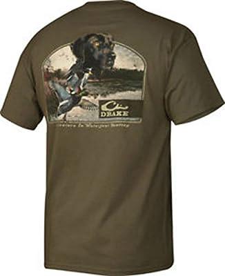 Drake Waterfowl Lab & Ducks Short Sleeve T-Shirt Military Green