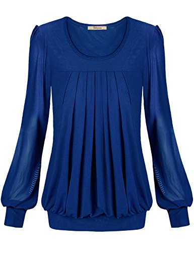 Long Jersey Sheer Tee Sleeve (Bebonnie Womens Long Sleeve Ladies Jersey Fashion Peasant Banded Blouse T Shirts Tunic Top L Blue)
