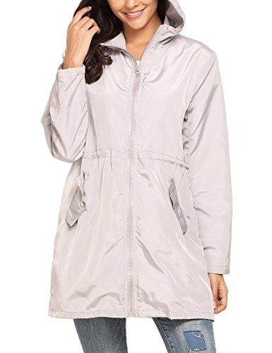 Dethler Women Raincoat Waterproof Windproof Lightweight Outdoor Jacket Zip-up Drawstring Hooded by Dethler (Image #3)