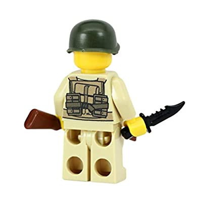 Modern Brick Warfare US Army American WW2 M1 Soldier Custom Minifigure: Toys & Games