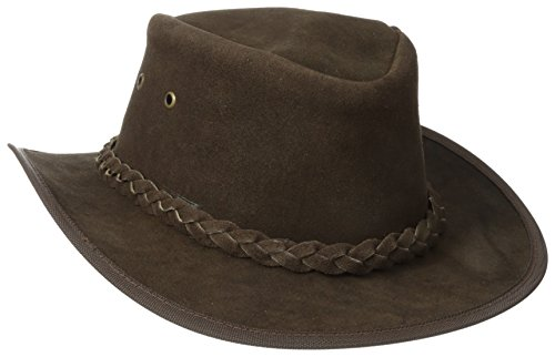 (Henschel Rainproof Leather Outback Hat, Brown, Medium)