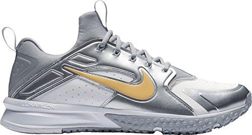 Nike Mens Alpha Huarache Turf Mazze Da Baseball Usa Bianco / Metallizzato Oro-bianco-lupo Grigio