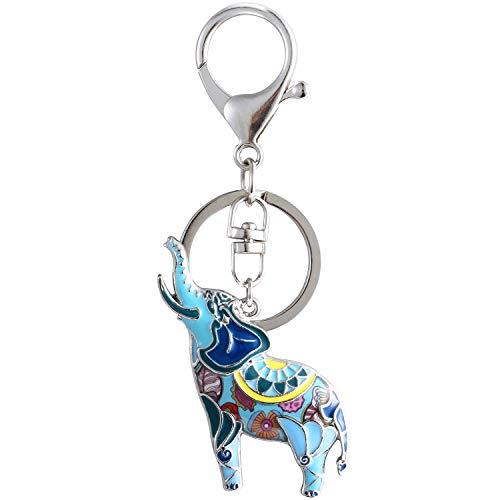 Luckeyui Lucky Elephant Gift Keychains for Women Blue Enamel Animal Charm Keyring
