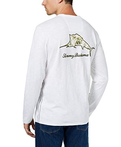 Tommy Bahama Men's Don't Leaf Me Now Embroidered Logo Graphic T-Shirt (White, X-Large)